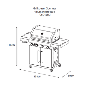 Grillstream Stainless Steel Gas BBQ - 4 Burner - diagram with dimensions