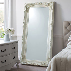 Chateau Leaner Mirror (Cream) in a bedroom