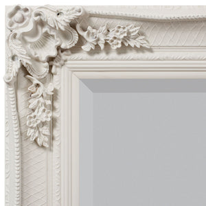 Close-up of ornate detail on Cream ornate rectangle mirror