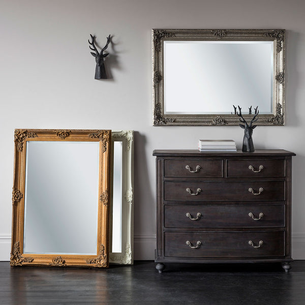 All three ornate rectangle mirrors, gold, silver and cream