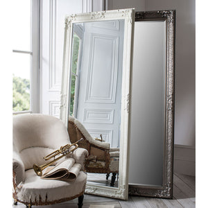 Lilymead Mirrors (silver and cream) leaning against a wall