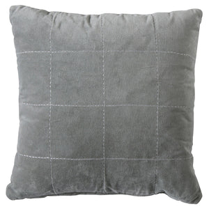 Velvet grey cushion on white background