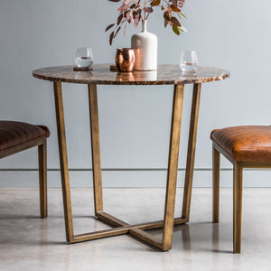 The Brown Marble Round Dining Table with chairs