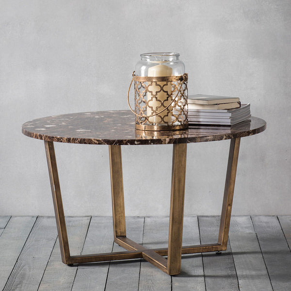 The Brown Marble Coffee Table  with lantern