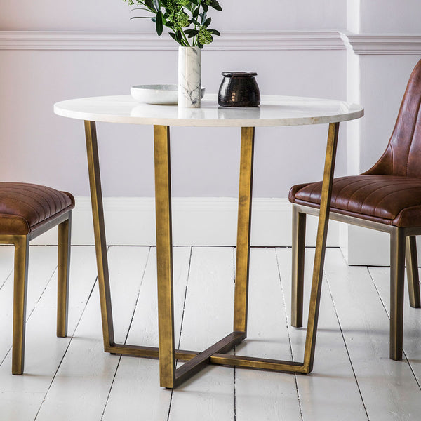 The White Marble Round Dining Table with two chairs
