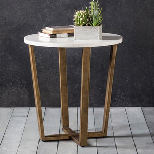 The White Marble Side Table with succulent