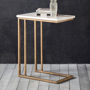 The White Marble Alternative Side Table with ornaments