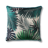 White and green palm leaf cushion on white background