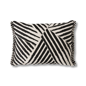 Monochrome geometric rectangular cushion