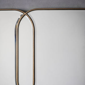Close-up of bevelled and gold edging of Deco Gold Mirror