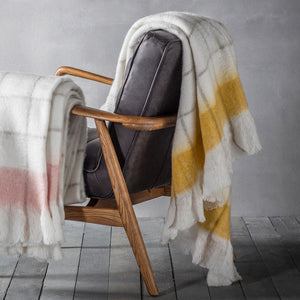 Super soft check throw with ochre mustard accent