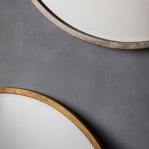 Close-up showing frame of Smith Round Mirror in Gold