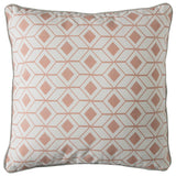 Blush geometric cushion on white background