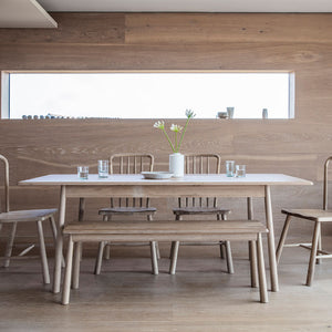 The Bergen Extending Dining Table with Dining Bench and 4 Dining Chairs