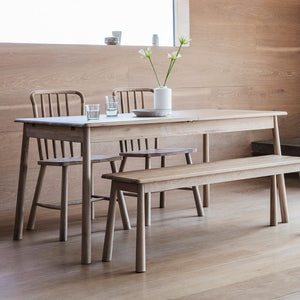 The Bergen Extending Dining Table with 2 Dining Chairs and Dining Bench