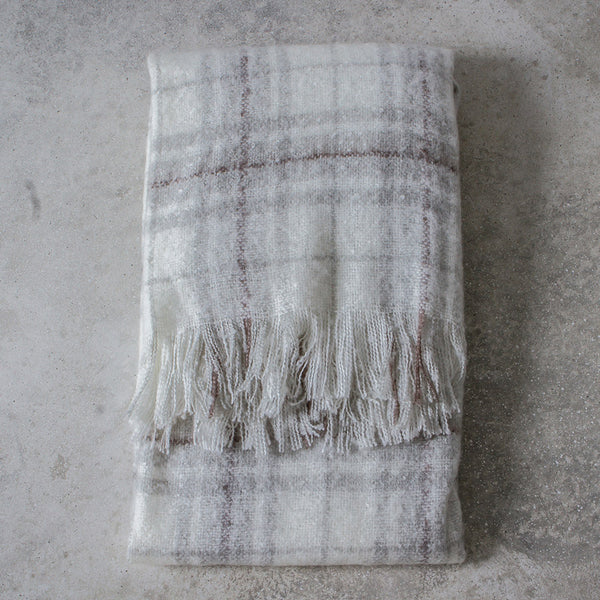 Super soft white and grey checked throw