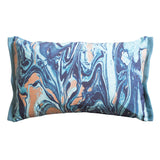 Blue and gold marble cushion with white background