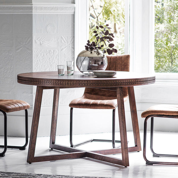 The Chic Brown Round Dining Table (1.2m) with chairs