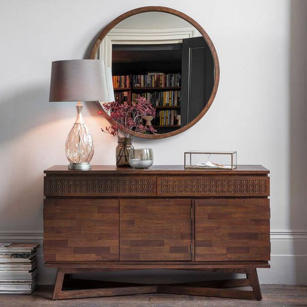 The Chic Brown 3 Door / 2 Drawer Sideboard with ornaments and mirror