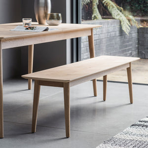 The Modern light oak dining bench
