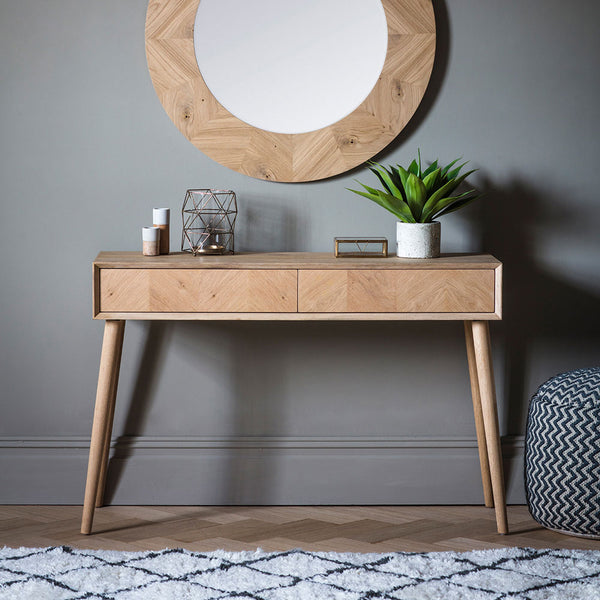 The Modern Light Oak 2 Drawer Console Table