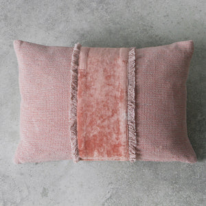 Textured blush cotton cushion