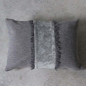 Textured charcoal cotton cushion