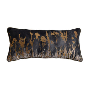 Charcoal and gold floral cushion on white background