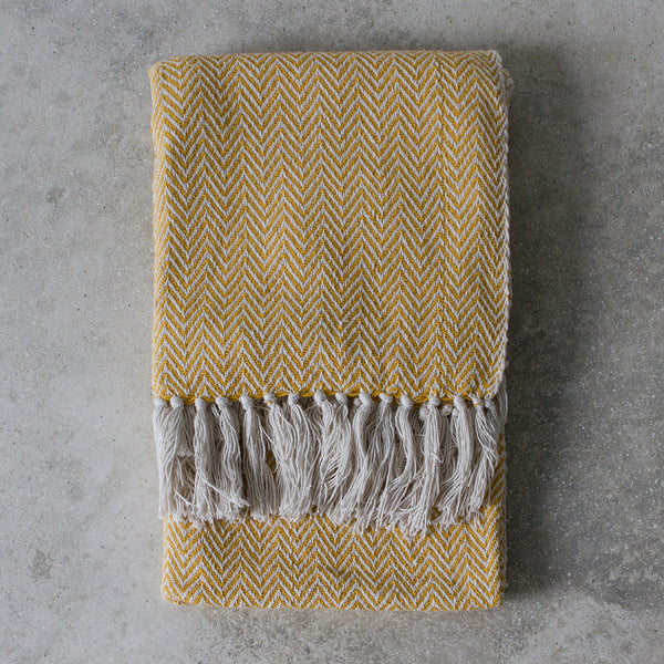 Cotton throw - mustard ochre and white