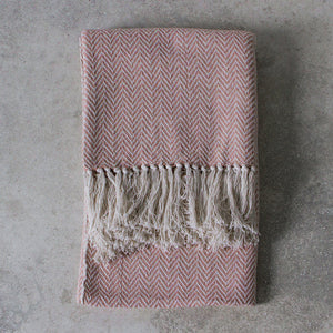 Cotton throw - blush and white