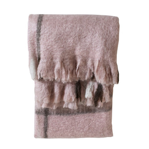 Blush with charcoal check throw