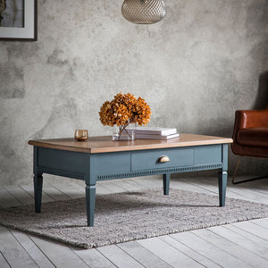 The Atlantic 1 drawer coffee table Blue Grey