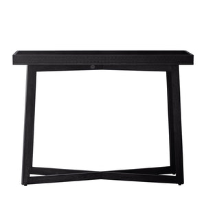 Chic Black Console Table front view on white background