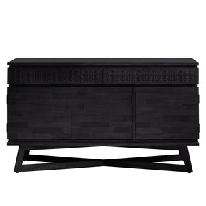 Chic Black 3 Door / 2 Drawer Sideboard on white background