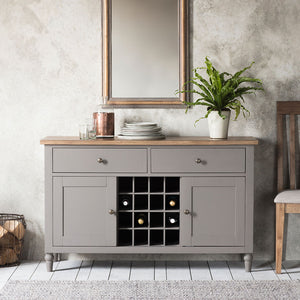 The Large Rural Sideboard Slate Grey in situ with mirror and accessories