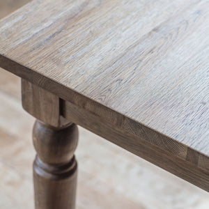 Rural Extending Oak Dining Table Set in Smokey Oak corner and leg detail close up