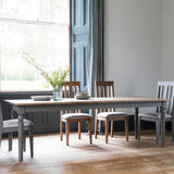 Slate grey Rural Extending Oak Dining Table pulled out in situ with 4 slate grey oak dining chairs