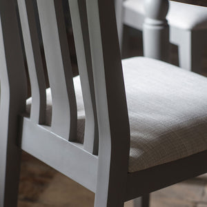 Rural oak dining chair in slate grey with close-up of light grey chair seat