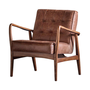 The Vintage Armchair Brown Leather side angle