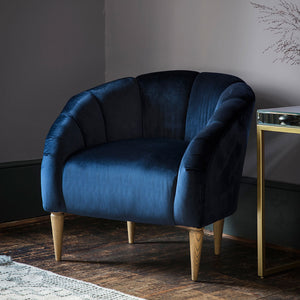 Art Deco Velvet Scallop Chair In Blue