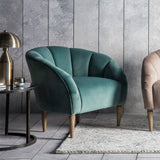Art Deco Velvet Scallop Chair in Mint in situ with room with furniture