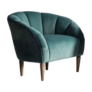 Art Deco Velvet Scallop Chair in Mint angle view on white background