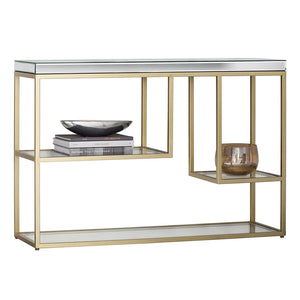 The Designer Console Table in Champagne front view with white back ground