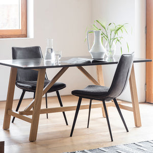 The Ruskin Dining Table with 2 dining chairs