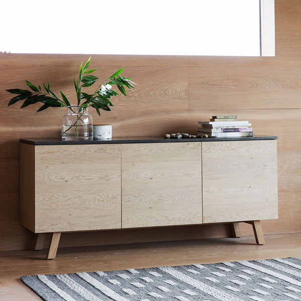 The Ruskin 3 Door / 1 Drawer Sideboard with plant
