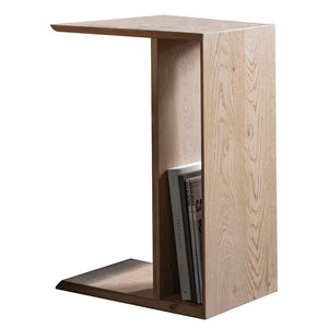 Modern Light Oak Alternative Side Table with books