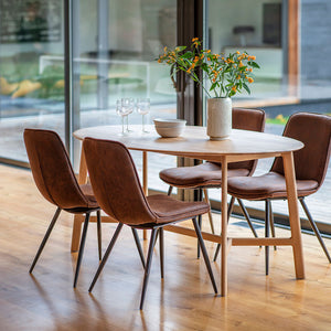 Barcelona Oval Dining Table with dining chairs