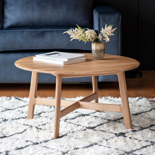 Barcelona Round Coffee Table with magazines