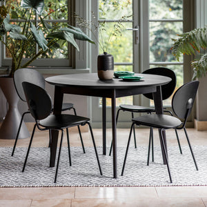 Matte Oak Round Dining Table Black (1.1m)
