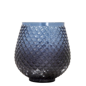 Glass voltive side view in blue
